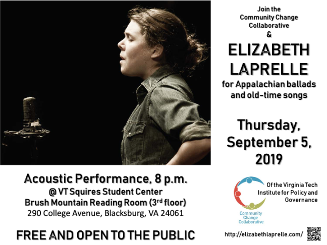 Join CCC and Elizabeth Laprelle on Thursday, September 5th at 8 PM in the Squires Student Center for Appalachian ballads and old-time songs